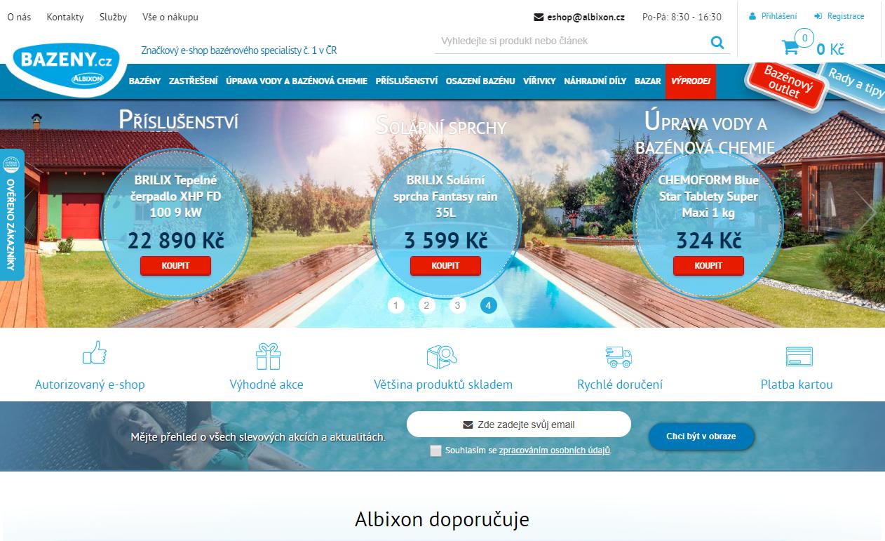 bazeny.cz homepage